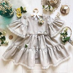 Linen dress for girls Grey color Vintage outfit for newborn, baby, toddler Perfect as summer dress Bohemian boho frock Great birthday gift Vintage Outfits, Vintage Dresses, Baby Girl Fashion, Kids Fashion, Little Girl Dresses, Flower Girl Dresses, Baby Outfits, Kids Outfits, Bohemian Summer Dresses