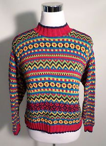 Womens Size M HANNA ANDERSSON Sweater, Nordic Pattern, Vibrant Colors, NICE