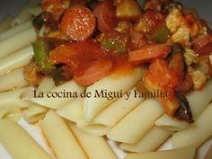 LA COCINA DE MIGUI Y FAMILIA: MACARRONES CON SALCHICHAS Y ESPARRAGOS(para 2 pers...