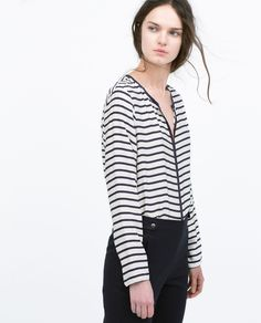 ZARA - WOMAN - STRIPED SHIRT WITH CONTRAST PIPING