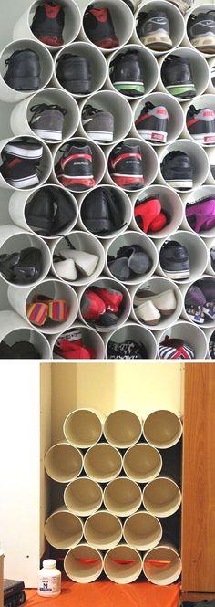 Pvc pipe shoe storage 22 easy shoe organization ideas for the home. Diy Shoe Storage, Diy Shoe Rack, Small Storage, Closet Storage, Shoe Racks, Shoe Storage Ideas For Small Spaces, Craft Storage, Closet Ideas For Small Spaces Bedroom, Easy Storage