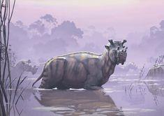 Uintatherium mirabile by Simon Stålenhag Prehistoric World, Prehistoric Creatures, Extinct Animals, Le Far West, Monster, Creature Design, Fantasy Creatures, Ancient History, Mammals