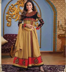 LARA DUTTA CHIKOO ANARKALI RTLIL7006    Pamper the diva within you with this cool chikoo color georgette anarkali dress modeled by stunning bollywood beauty and ex. miss universe Lara Dutta. Eye-catching zari work, resham embroidery with patch butta and lace border work is done on the dress to amplify its beauty quotient. A maroon santoon salwar material and a trendy chikoo chiffon dupatta completes the look.