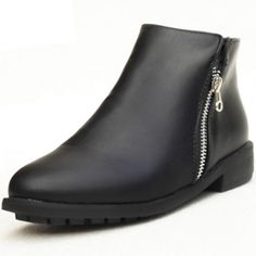 Cheap Spring Autumn Round Toe Zipper Design Chunky Low Heel Black PU Short Martens Boots_Boots_Womens Shoes_Cheap Clothes,Cheap Shoes Online,Wholesale Shoes,Clothing On lovelywholesale.com - LovelyWholesale.com