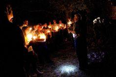 We were part of candlelight tour of Espiritu Santo mission ruins near the Spirit Inn.