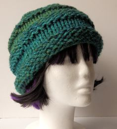 Unisex Chunky Blues and Greens Hand Knitted Striped Beanie Hat (warm, autumn, winter, spring, turquoise) - pinned by pin4etsy.com