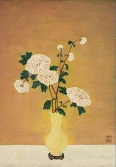 White Chrysanthemums in Yellow Vas - Sanyu (Chang Yu ) , Chinese-French, oil on masonite board , x cm. Granny Chic Decor, White Chrysanthemum, Lotus, Yellow Vase, Hand Painted Fabric, Figure Painting, Chinese Art, Japanese Art, Flower Art
