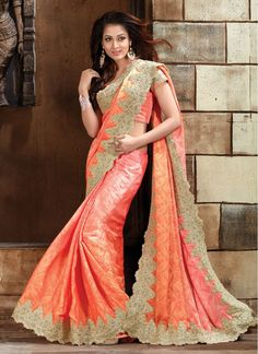 Jacquard Orange Crystal Designer Bridal Sarees