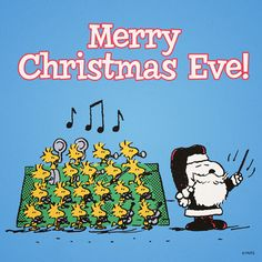 Merry Christmas Eve - Santa Snoopy Ringing a Bell With Woodstock and Friends Singing in a Choir Nearby