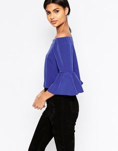 Image 2 of ASOS Off The Shoulder Top with Ruffle Sleeve