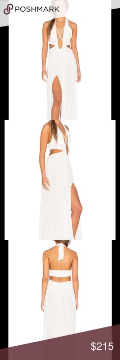 "Jen's Pirate Booty Cut Out Maxi Dress Jens Pirate Booty embodies designs that cater to free-spirited individuals with carefree pieces that are as spontaneous and fun as the lives they lead. This is a stunning and eye-catcher dress.   Cotton blend Unlined Lace trim Adjustable neck tie closure Hand wash Neckline to hem measures approx 50"" length Color – White Jen's Pirate Booty Dresses Maxi"