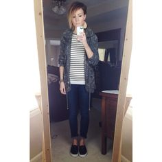 ONE little MOMMA: Everyday Style March. Camo jacket, black and white striped shirt, dark denim, leather earrings.