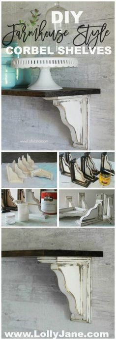DIY: Farmhouse Style Corbel Shelves - easy to follow tutorial on how to paint/stain farmhouse shelves - via Lolly Jane