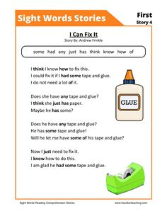 This Reading Comprehension Worksheet - I Can Fix It is for teaching reading comprehension. Use this reading comprehension story to teach reading comprehension.