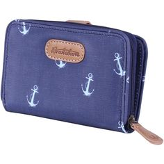 Brakeburn Anchors Wallet (3790 ALL) ❤ liked on Polyvore featuring bags, wallets, blue canvas bag, canvas bag, wallet, pattern wallet and credit card holder wallet