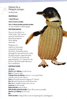 better pattern for penguin sweaters. article here: http://jezebel.com/5851711/the-worldwide-campaign-to-knit-sweaters-for-penguins-affected