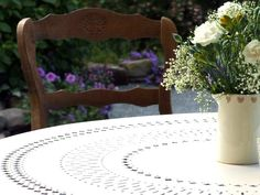 French vintage Provencal chair and Classic French outdoor table