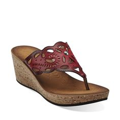 Mimmey Anne in Red Synthetic - Womens Sandals from Clarks - cute wedges!