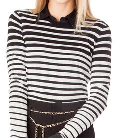 SkinnyShirt in black under long sleeve striped shirt