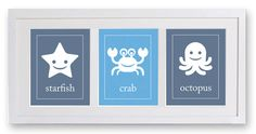 Kids Wall Art, Sea Creature Print Set 3 - 5x7, Undersea Art, Childrens Art, Childrens Decor, Nursery Art, Starfish, Crab, Octopus. $29.50, via Etsy.