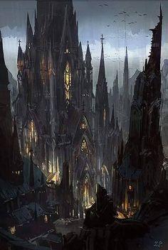 fantasy castle kingdom dark medieval inspo landscape