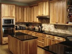 what countertops go with hickory cabinets - Google Search