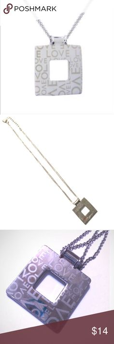 """❤ Love Square Rhodium Necklace These necklaces are crafted of Rhodium. They feature a double chain with a lobster claw closure and measure 16"""" with a 2"""" extension. Square pendant is 1.25"""" by 1.25"""". 🌺   🔺Questions? Please ask.  🔺I want your Poshmark experience to be easy & enjoyable. 🔺Thank you for shopping at Posh Mishmosh. Jewelry Necklaces"""