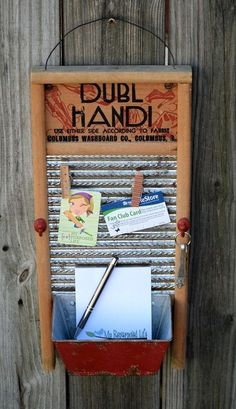 vintage washboard memo board #MyRepurposedLife #vintage #washboard #memo #project #thriftstorefinds