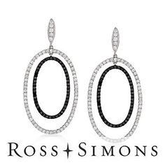 4.29ct t.w. Black, White Diamond Drop Earrings