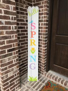Brighten up your porch with this lovely, colorful rustic spring decor. This colorful porch sign is made from reclaimed wood fence pickets and is the perfect way to say goodbye to winter and hello to spring! ---------- SIZE ---------- 6ft tall x 10-11in wide (sizing varies slightly