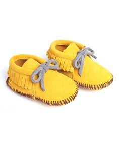 Adorable Yellow Suede Moccasin Bootie