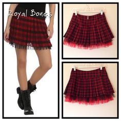 "Royal Bones Mini Skirt PRICE FIRM Red and black plaid pleated skirt with a black and red tulle hem. The skirt is 13"" long and 13"" across at waist. NWOT Royal Bones Skirts Mini"