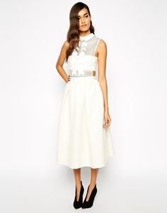 Enlarge Self Portrait White Reflections Midi Dress In Textured Jacquard With Geometric Embellished Bodice