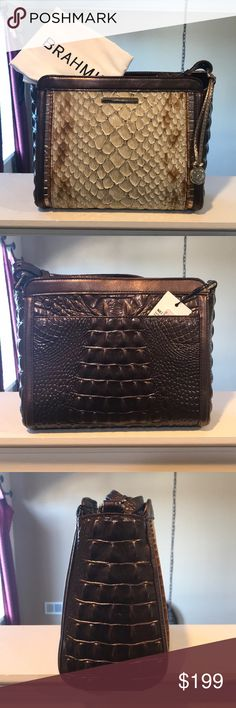 "Brahmin Carrie Crossbody Brahmin Carrie Crossbody in the color Honey Carlisle. The strap on this bag is adjustable so this bag can be used as a crossbody and a shoulder bag. The strap at its longest is  25"". Comes with original dustbag. Brahmin Bags Crossbody Bags"