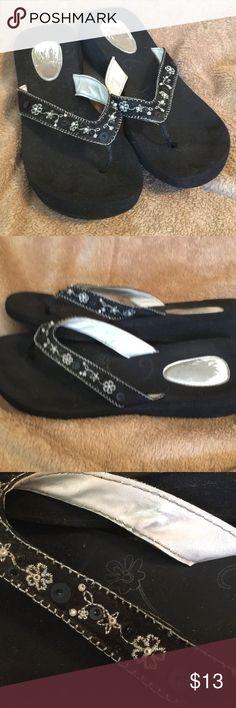 80bfaf8f8ec1c4 Candies Embellished Black Flip Flops Size XL 11 Cute Candies Silver Floral    Vine Embellished Black