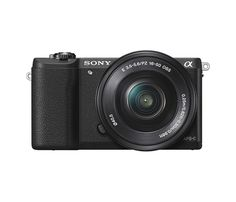Sony - Alpha a5100 Mirrorless Camera with 16-50mm Retractable Lens - Black - Larger Front