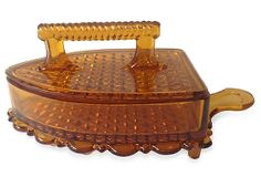 Amber Glass Iron-Shaped Candy Dish with lid. Beautiful raised diamond pattern on lid and base.