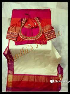 Elegant Designer Fancy Sari Blouse Designs - The Handmade Crafts New Blouse Designs, Bridal Blouse Designs, Mirror Work Blouse, Maggam Work Designs, Designer Blouse Patterns, Indian Blouse, Blouse Models, Photocollage, Fancy Sarees