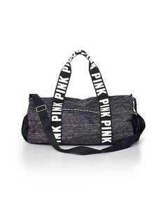 dff418768bca Victoria s Secret PINK Duffle Bag Gym Overnight Luggage Suitcase Black  Marled Pink Duffle Bag