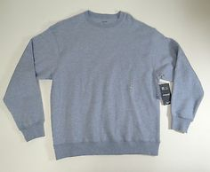 Roundtree & Yorke Sport Mens Blue Heather Crew Neck ProLuxe Fleece Sweater Large
