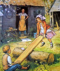 """See Saw Margery Daw"", by Margaret Tarrant, via Etsy. Childhood Images, Childhood Memories, Book Images, Children's Book Illustration, Nursery Rhymes, Vintage Children, Illustrations Posters, Vintage Art, Illustrators"