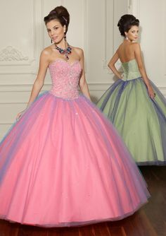 Long strapless pink & violet blue dress with crystal accents & iridescent tulle skirt from Vizcaya By Mori Lee (Style: 88005).