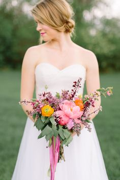 coral charm peony bouquet - photo by Ashley Largesse http://ruffledblog.com/rustic-reimagined-wedding-editorial