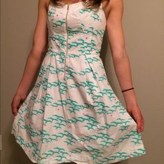 Lilly Pulitzer dress New condition. Halter top dress. Fitted bust with zipper in the front and a fuller skirt. Seagull print. Size 8. Model is 5'8, a 36C, and a 27' waist. Lilly Pulitzer Dresses Midi
