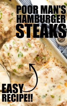 Easy, rich, and creamy, this poor man's hamburger steaks recipe is packed with flavor! Ground beef is perfectly seasoned before being cooked, then cov. Hamburger Steaks, Hamburger Steak Recipes, Hamburger Dishes, Easy Meat Recipes, Beef Dishes, Ground Beef Recipes, Easy Dinner Recipes, Food Dishes, Easy Meals