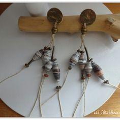 Boucles d'oreilles perle en papier beige / brun et métal bronze