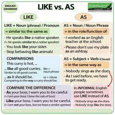 Like vs. As Difference - English Grammar, As If English Grammar Rules, Teaching English Grammar, English Writing Skills, Grammar And Vocabulary, English Phrases, English Language Learning, English Lessons, English Vocabulary, Teaching Spanish