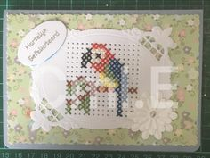 Small Cross Stitch, Cross Stitch Cards, Cross Stitch Embroidery, Stitching On Paper, Paper Smooches, Marianne Design, Needlepoint, Gift Tags, Birthday Cards