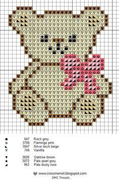 Cross me not: Tiny Teddy…adorable teddy bear cross stitch pattern