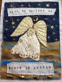 Paper Embroidery Send My Prayers on Wings of Angels Acrylics, paper fabric, paper beads, metal ephemera, muslin background I am having so much f. Fabric Art, Fabric Crafts, Sewing Crafts, Sewing Projects, Craft Projects, Paper Embroidery, Embroidery Patterns, Peace Flag, Mobiles